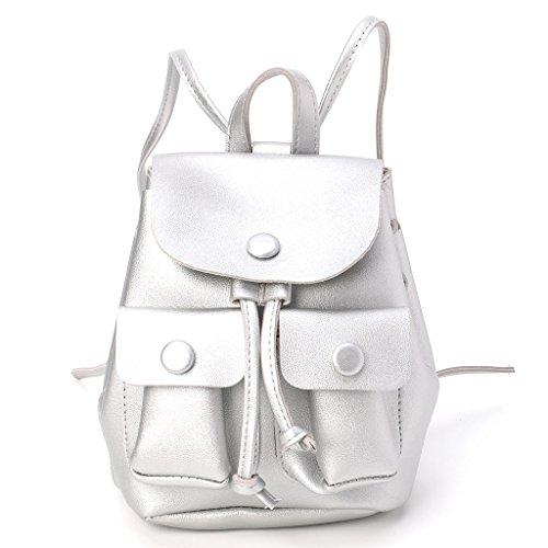 Rucksack Travel Bag School Bag Drawstring Shoulder Yellow Shoulder Bag Bookbags Travel Silver Backpack Girl Handbag Kofun Women EUq1Pq
