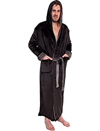 mens hooded long robe full length big tall bathrobe