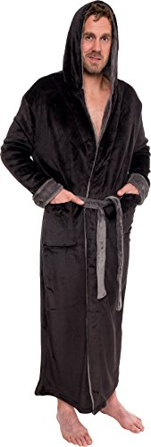 - Ross Michaels Mens Hooded Long Robe - Full Length Big & Tall Bathrobe (Black & Grey, L/XL)