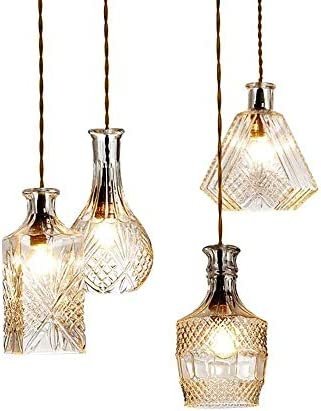 WINSOON Glass Pendant Light Crystal Bottle Chandelier Hanging Textured Glass Shade Kitchen Lighting for Christmas Holiday Wedding Party Bulb NOT Included , D Style