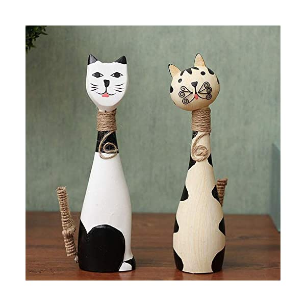 MQW Groceries Nordic Wooden Animal Creative Display Cute Couple Cat Home Decoration Crafts Decoration Gift 6H28CM A Pair of Delicate and Beautiful