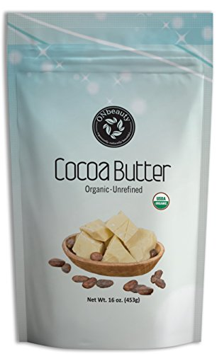 USDA Certified Organic Unrefined Cocoa Butter by ONbeauty - 16 Oz, FOOD GRADE - Raw
