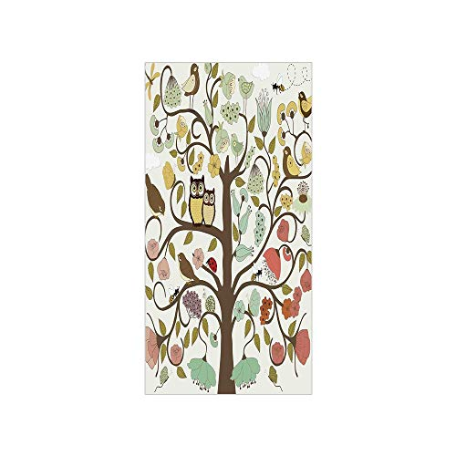3D Decorative Film Privacy Window Film No Glue,Animals,Retro Style Tree with Flowers Bugs and Bees Owl Birds Insects Vintage Decorative,Almond Green Eggshell,for ()