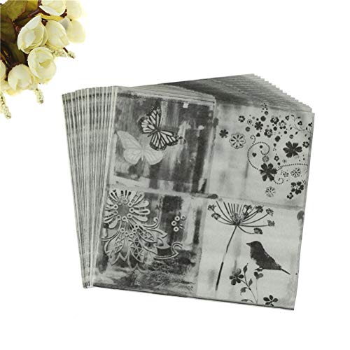 Party Diy Decorations - 20pcs Flower Bird Butterfly Black White Vintage Decoupage Wedding Party Festive Decorative Table - Party Decorations Party Decorations Napkin Paper Black Frame - Frame Decoupage