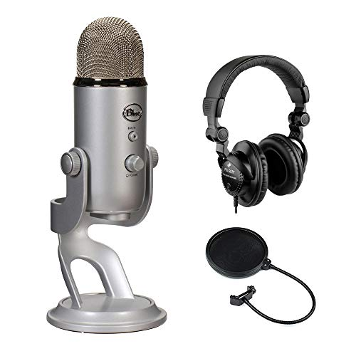 Blue Yeti Studio USB Microphone Professional Recording System with HPC-A30 Closed-Back Studio Monitor Headphones & Pop Filter -