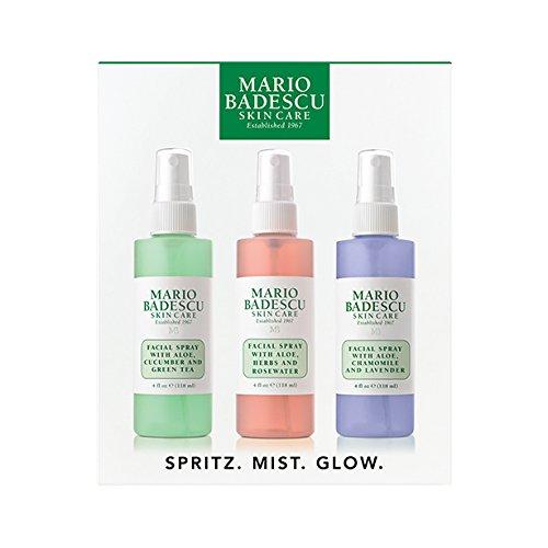 Mario Badescu Spritz Mist and Glow Facial Spray Collection Trio, Lavender, Cucumber, Rose