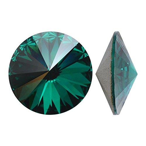 Swarovski Crystal, #1122 Rivoli Fancy Stones 14mm, 2 Pieces, Emerald Sf
