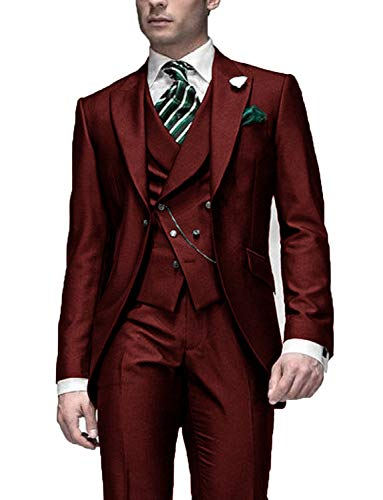 DGMJDFKDRFU Men Formal Pant Suits for Weddings Regular Fit Burgundy Prom Party Tuxedo