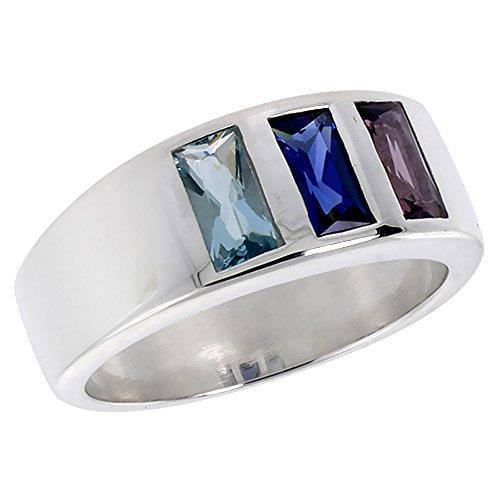 Sterling Silver Aquamarine Sapphire Amethyst