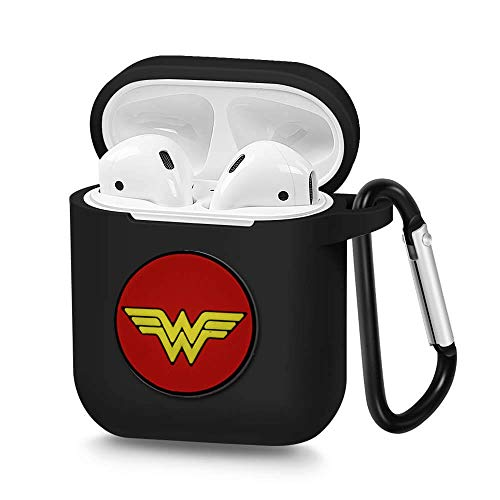 Carabiner Logo (Airpods Case, Portable Silicone AirPods Charging Case with Carabiner Compatible with Apple Airpods Superhero Logo (Wonder Woman))