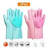 Magic Saksak Scrubber Gloves - 2 Pair Scrubbing Gloves - Reusable Silicone Dishwashing Gloves - Wash Cleaning Gloves with Brush Scrub Gloves for Kitchen, Bathroom, Washing Car, Dish Washing and More