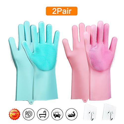 (Magic Saksak Scrubber Gloves - 2 Pair Scrubbing Gloves - Reusable Silicone Dishwashing Gloves - Wash Cleaning Gloves with Brush Scrub Gloves for Kitchen, Bathroom, Washing Car, Dish Washing and More)