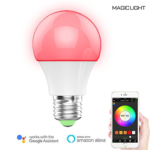 MagicLight WiFi Smart Light Bulb - Sunrise Dimmable Multicolored LED Household Light Bulb - No Hub Required - Compatible with Alexa & Google Home Assistant