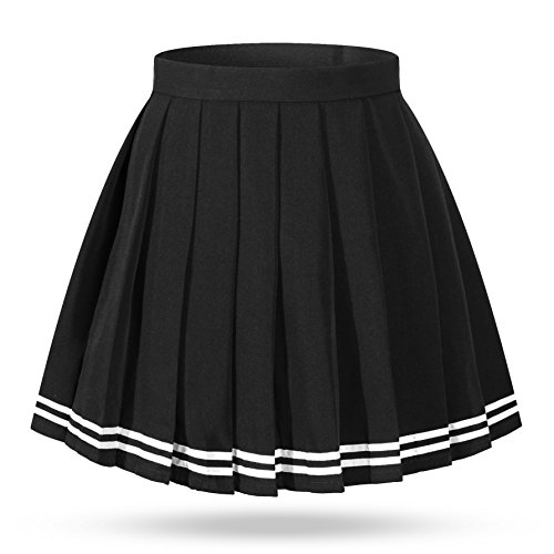 High Waist Pleated School Navy clothing White Stripe Skirts Costumes(4XL,Black) ()