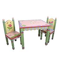 Fantasy Fields - Juego de 2 mesas de madera y 2 sillas para niños de Magic Garden, hechas a mano temáticas Imagination Inspiring Hand Crafted y pintadas a mano Detalles No tóxicos, pintura a base de agua sin plomo