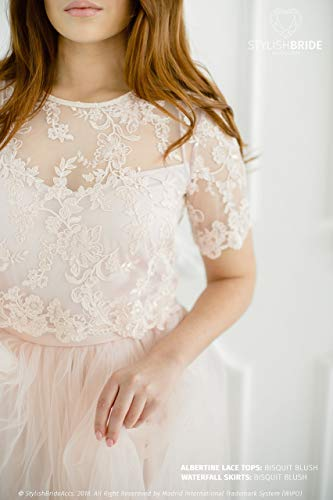 (Albertine Biscuit Blush Lace Crop Top, T-shirt Sleeves Pink Lace Crop Top, Plus Size Lace Top, Prom Ivory Pink Top with Lace )