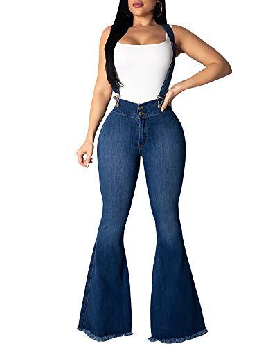 Women's Adjustable Strap Wide Leg Jeans Classic High Waist Flare Leg Plus Size Denim Bell Bottoms Jeans -