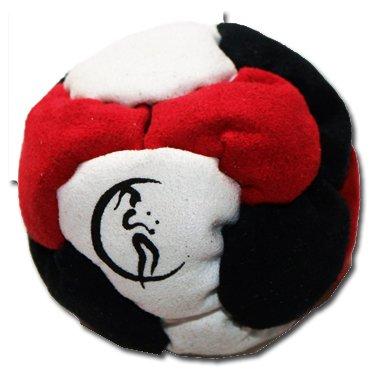 Profi Footbag 6 Paneelen (Schwarz/Rot/Weiß) Pro Freestyle Footbag! Hacky Sack für Anfänger und Profis, ideal für Stände, Fänge, Verzögerungen u. Tritte!