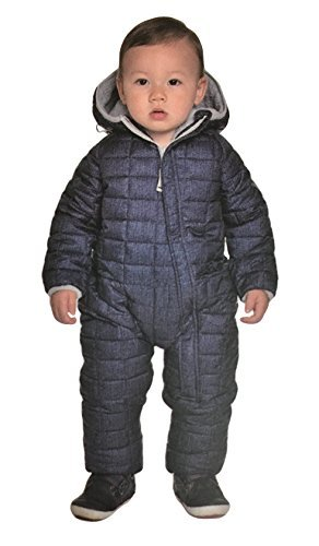 Hooded Snowsuit (Snozu Infant Toddler Baby Childs Hooded Snowsuit (9/12 Months, Navy Blue/Light Gray Lining))