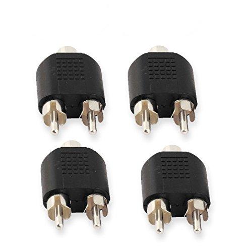 DCFun RCA Female to Dual RCA Male Splitter Adapter For Audio Video AV TV Cable Convert 4-Pack