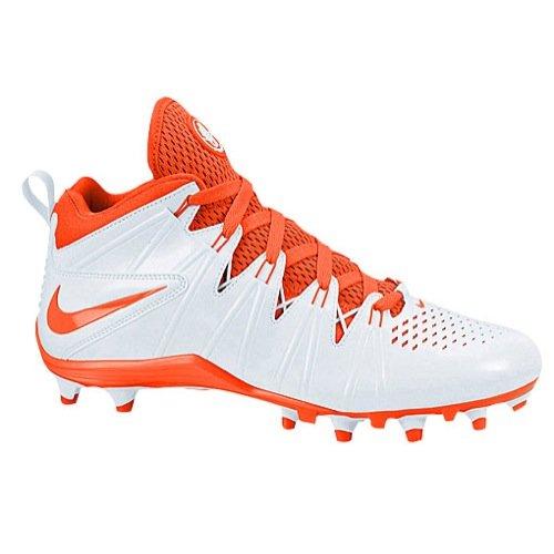 Nike Air Huarache 4 Men's Lacrosse Shoes White/Orange (Nike Cleats Huarache Lacrosse)