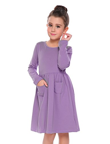 Arshiner Little Girls Long Sleeve Solid Color Casual Skater Dress 120(Age for 6-7Y) Purple