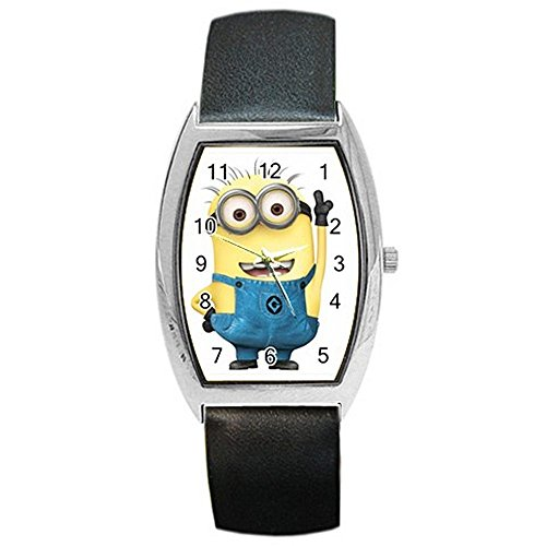 "Despicable Me "" Minion "" on a Womens, Mens, Girls, Boys Barrel Watch with Leather Band"