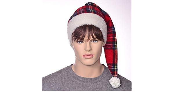 bfed8edcaf54c4 Amazon.com: Plaid Santa Hat with Sherpa Headband Christmas Stocking Cap:  Handmade