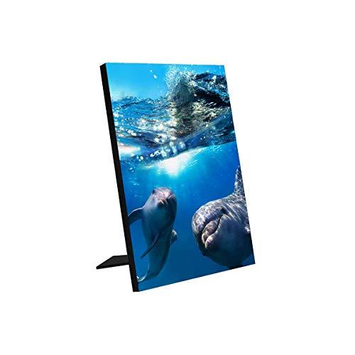 "INTERESTPRINT Dolphins Underwater Plaque for Tabletop Display(6""x8"")"