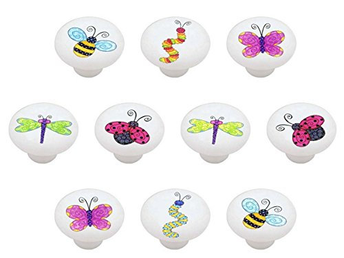SET OF 10 KNOBS - Bee Caterpillar Butterfly Dragonfly Ladybug - Bugs N Stuff - DECORATIVE Glossy CERAMIC Cabinet PULLS Dresser Drawer KNOBS