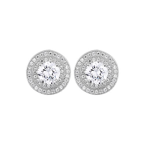 Sterling Silver Cubic Zirconia Spectacular Majestic Circular Pushback Stud Earrings with Extravagant Center CZ Stone (Circular Cubic Zirconia Earrings)