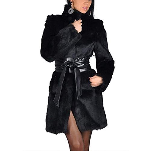 Moda Collo Donna Alto Invernali Giovane Puro Lanoso Nero Lunga Pelliccia Colore Cintura Calda Giacca Laterali Cappotto Sintetica Di Manica Giubotto Tasche Inclusa Giaccone pPqRExvw