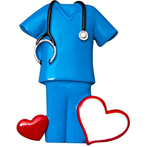 Personalized Generic Blue Scrubs Christmas Ornament for Tree 2018 - Nurse Practitioner Care with Hearts - Blonde Brunette Prescription New Job Coworker Girl Boy - Free Customization by Elves ()