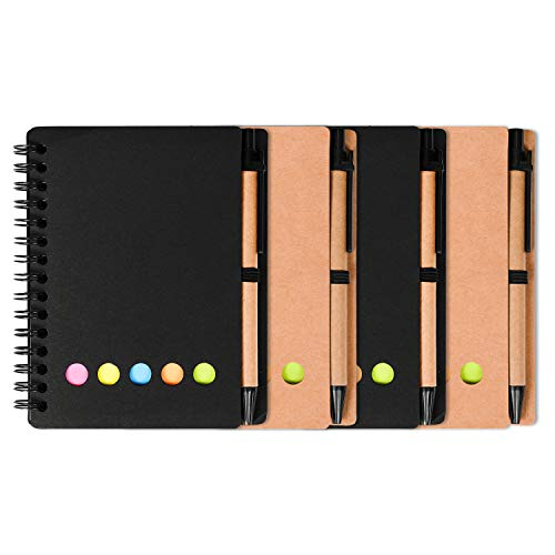 (Kisdo 4 pieces Steno Pocket Business Notebook Spiral Lined Notepad Set with Pen and Sticky Notes Page Marker Index Tabs Flags 4.5