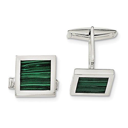 Sterling Silver Malachite Cuff Links (Set Malachite Cufflinks)