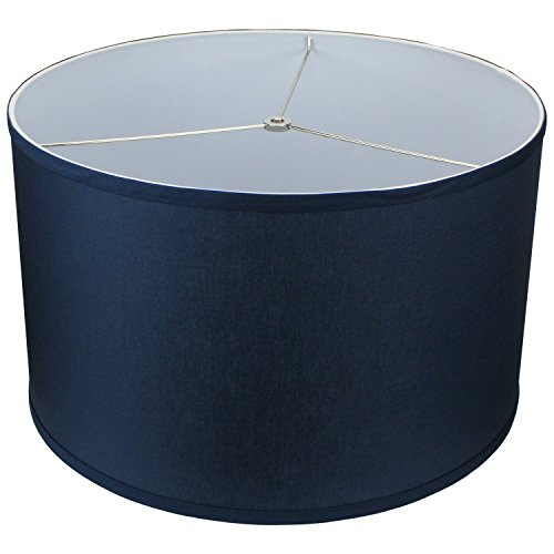 FenchelShades.com 18'' Top Diameter x 18'' Bottom Diameter 11'' Height Cylinder Drum Lampshade USA Made (Navy Blue) by FenchelShades.com