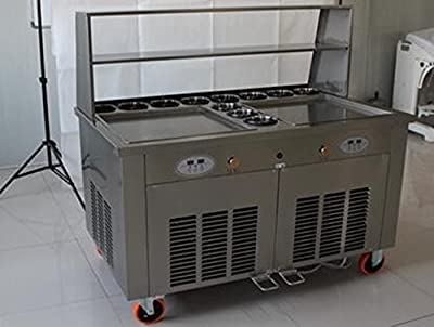 Double square pan roll icecream thai machine with 11 compartments