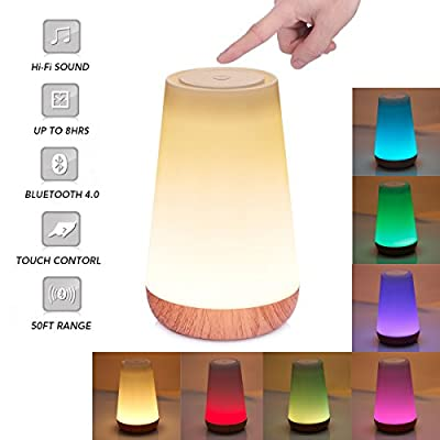 Night Light with Bluetooth Speaker,BALORAY Led Smart Touch Control Table Lamp,Bedside Table Lamp with Dimmable Color for Reading,Sleeping or Camping
