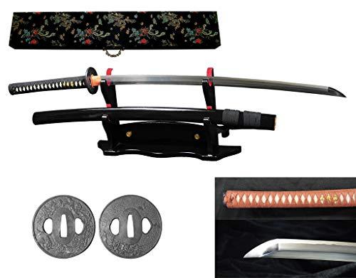 RYUJIN 5160 Spring Steel Handmade Full Tang Samurai Katana Differentially Hardened with Real Straight Edge Hamon, Real Ray Skin Handle. 304 Stainless Steel Tsuba (Botan Shishi - Ray Edge Handle Skin Katana