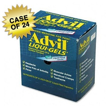 Advil Liqui-Gels, Individually Wrapped, Two Tablets Per Packet, 50 Packets Per Box, Case of 24