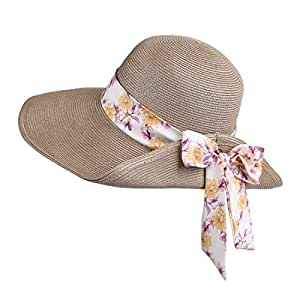 Hats Female Outdoor Trip Sunscreen Straw Hat Bow Tie Decoration Gray Treasure Sunshade Hat Fashion (Color : Gray, Size : M)