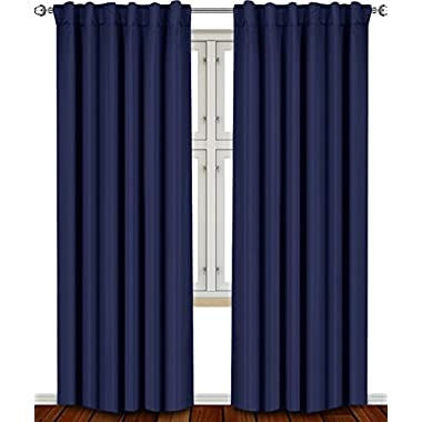 Blackout, Room Darkening Curtains Window Panel Drapes - (Navy Blue Color) 2 Panel Set, 52 inch wide by 84 inch long each panel, 7 Back Loops per Panel, 2 Tie Back Included - by Utopia Bedding