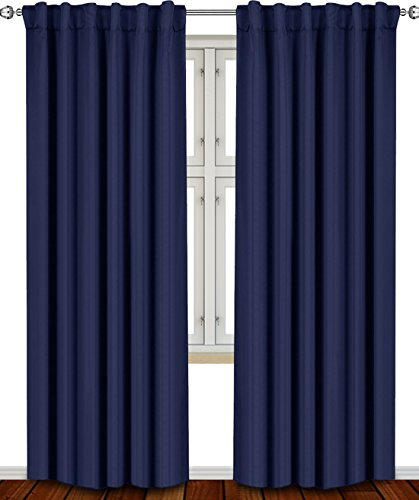 Utopia Bedding - Blackout Room Darkening and Thermal Insulating Window Curtains / Panels / Drapes - 2 Panels Set - 7 Back Loops per Panel - 2 Tie Back Included (Navy, 52 x 84) Blue Window Curtains