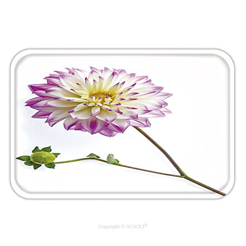 Flannel Microfiber Non-slip Rubber Backing Soft Absorbent Doormat Mat Rug Carpet Dahlia On White Background 168936467 for - Reviews Dahlia White