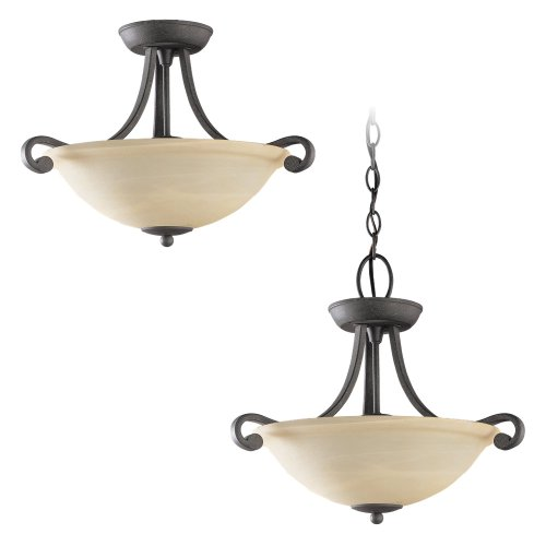 Weathered Iron Finish Pendants - Sea Gull Lighting 51190-07 Serenity Two-Light Pendant, Weathered Iron Finish with Dusted Alabaster Glass