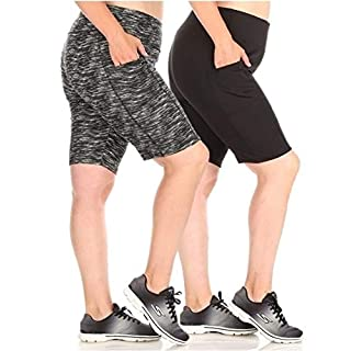 ShoSho Womens Plus Size 2-Pack Yoga High Waist Biker Shorts Tummy Control Sports Bottoms W/Side Pockets Space Dye Print+Solid Black 1X