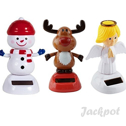 (Solar Toy Powered Dancing Christmas 1 Snow Man 1 Angel 1 Red Nosed Reindeer Set ( Set of 3 ) By Jackpot)