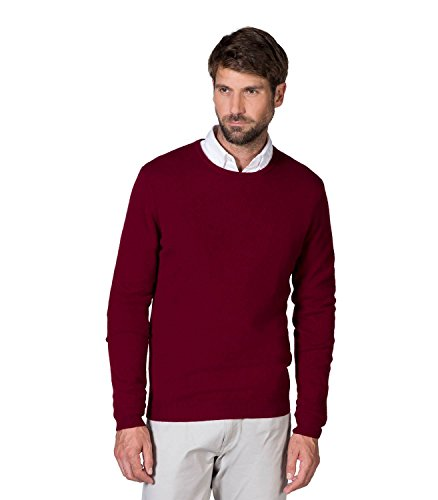 - WoolOvers Mens New Cashmere Crew Neck Sweater Berry, L