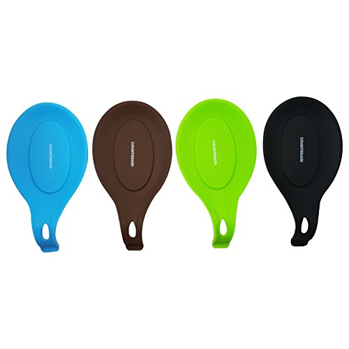 Heat Resistant and Flexible Silicone Spoon Rest, Trivet, Set of 4. (Black, Brown, Blue and Green) By CounterAid.