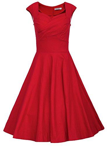 MUXXN Women's 1950s Vintage Retro Capshoulder Party Swing Dress (XXL, Red)